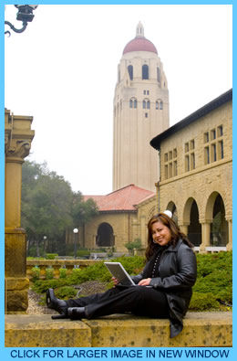 Mina at Stanford with laptop
