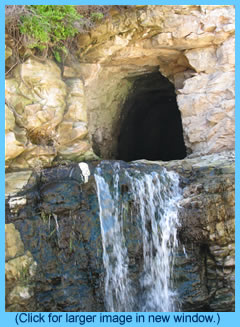 waterfall with cave